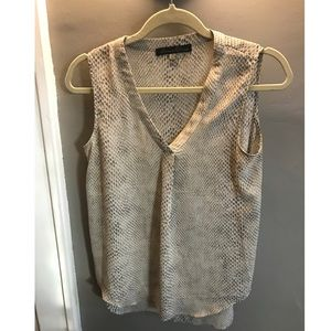 Rose & Olive Grey Print Blouse, XS